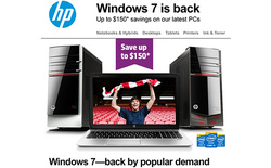 Chán nản với Windows 8, HP quay sang quảng cáo máy tính chạy Windows 7