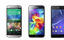 Đọ cấu hình bộ ba siêu phẩm HTC One M8, Galaxy S5 và Xperia Z2