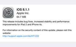 iOS 8.1.1: Cải thiện hiệu suất iPad 2 và iPhone 4S, không thể jailbreak