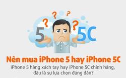 [Infographic] Nên mua iPhone 5 xách tay hay iPhone 5C chính hãng?