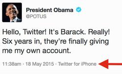 Tổng thống Obama mượn iPhone để dùng Twitter