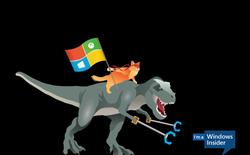 Chào Windows 10, Skype giới thiệu emoticon Ninja Mèo cưỡi Khủng Long cầm 2 cái kẹp