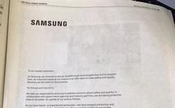 Samsung dành hẳn 1 trang trên báo giấy để đăng thư xin lỗi người dùng vì sự cố Note 7