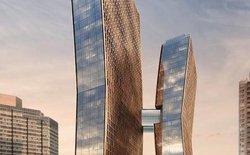 Bạn có tin cầu nối cao 100 mét giữa 2 tòa nhà chọc trời này lại là một bể bơi không?