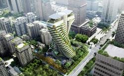 Cùng tham quan bên trong tòa tháp xanh hình xoắn ốc hấp thụ khí thải cực dị ở Đài Loan