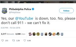 Cảnh sát Mỹ đăng tweet yêu cầu người dân ngừng gọi 911 để thông báo việc Youtube sập