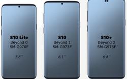 """Lộ diện kích thước 3 phiên bản của Galaxy S10 cùng """"nốt ruồi"""" ở chính giữa"""