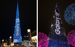 Samsung biến tòa nhà cao nhất thế giới thành màn hình trình diễn đèn LED để quảng cáo cho bộ đôi Galaxy S9/S9+