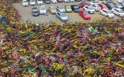 """Choáng ngợp với những tấm ảnh chụp từ trên không các """"nghĩa địa xe đạp"""" tại Trung Quốc"""