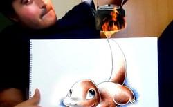 Nghệ sỹ khéo léo lồng ghép giữa tranh vẽ và thực tế nhằm truyền thông điệp về cách nhìn cuộc sống