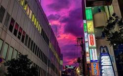 Trước siêu bão Hagibis đổ bộ, xôn xao loạt hình ảnh bầu trời Nhật Bản bất ngờ chuyển sang màu tím kì lạ