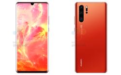 Huawei P30 và P30 Pro lộ thiết kế vát phẳng hai cạnh trên dưới cùng màu đỏ bình minh bắt mắt