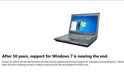 Microsoft bắt đầu làm phiền người dùng bằng thông báo Windows 7 sắp bị khai tử