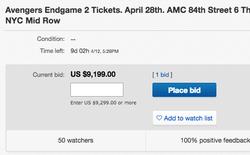 Sốc: 1 cặp vé công chiếu Avengers: Endgame đang có giá 215 triệu trên eBay