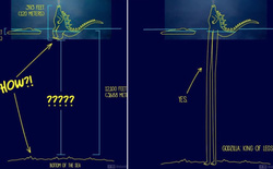"""Hoạ sĩ tự nghĩ ra những cách cực """"bựa"""" giúp Godzilla cao chỉ 120m mà đứng thẳng được trên biển sâu 3688m như phim"""