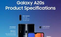 Galaxy A20s lộ diện với hệ thống 3 camera, màn hình 6.5 inch LCD