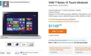 Ultrabook cảm ứng 15 inch giá chưa đến 800 USD của Sony