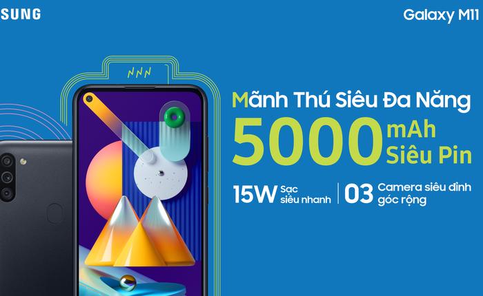 Galaxy M11 ra mắt tại VN: Snapdragon 450, cụm 3 camera, pin 5.000mAh, giá 3,69 triệu đồng