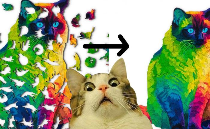 """Bộ xếp hình này gồm 224 miếng ghép toàn là hình mèo với đủ tư thế, lắp xong cũng ra luôn 1 """"boss"""" siêu đáng yêu, giá 1,7 triệu đồng"""