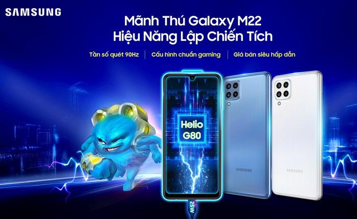 Galaxy M22 ra mắt tại VN: Màn hình Super AMOLED 90Hz, chip Helio G80, pin 5000mAh, giá 4.8 triệu đồng