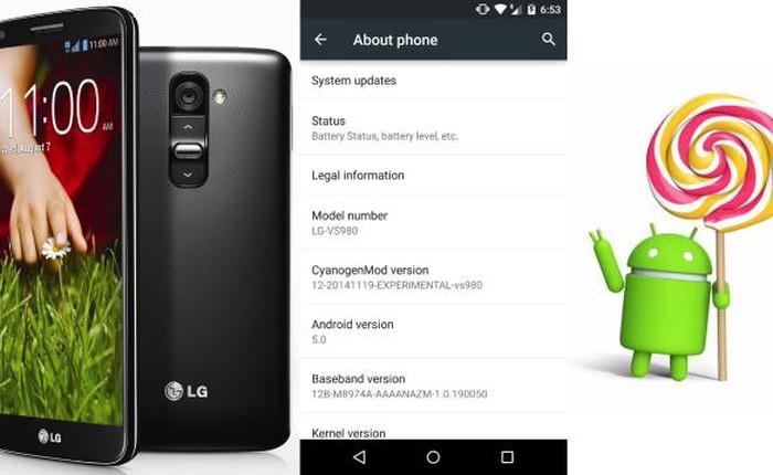 Người dùng LG G2 đã có thể trải nghiệm Android 5.0 Lollipop thông qua CyanogenMod 12