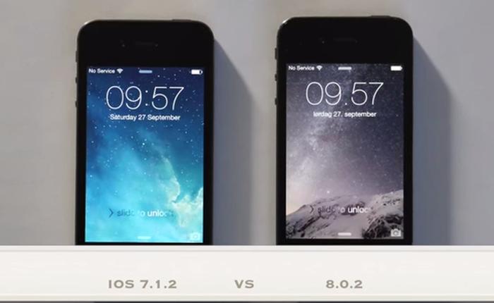 Video so sánh iPhone 4S chạy iOS 7.1.2 và iOS 8