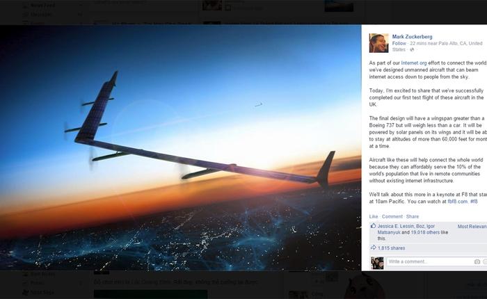 Mark Zuckerberg tuyên bố thử thành công máy bay phát Internet, bay nhiều tháng không cần hạ cánh