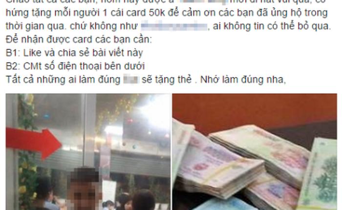 Hàng nghìn người lại bị lừa bằng trò share Facebook nhận thẻ cào