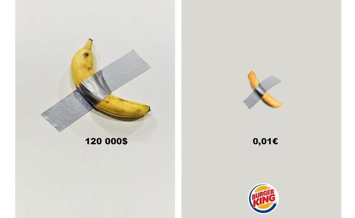 """Thấy quả chuối dán tường được bán với giá gần 3 tỉ đồng hot quá, các nhãn hàng lớn thi nhau bắt chước, nhưng để """"cà khịa"""" là chính"""