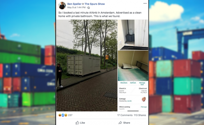 Thuê phòng Airbnb 3 triệu rưởi, du khách được ngay nhà container chật hẹp bẩn thỉu