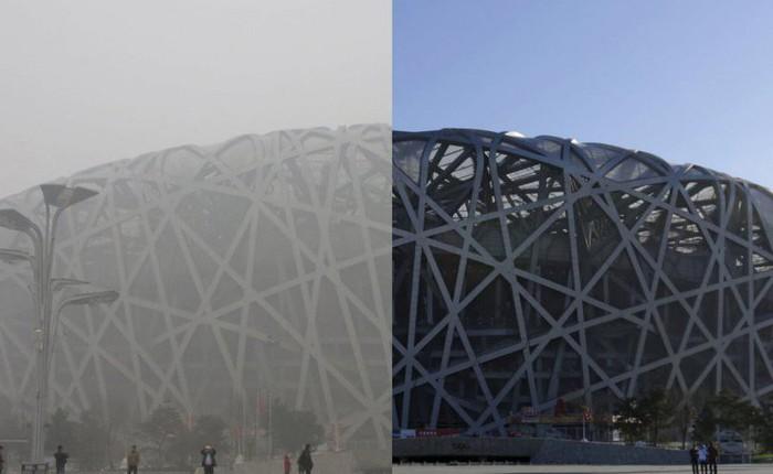 Tấm ảnh ấn tượng về SVĐ Tổ chim cùng báo cáo nghiên cứu mới cho thấy chất lượng không khí Bắc Kinh đã thay đổi mạnh mẽ nhường nào