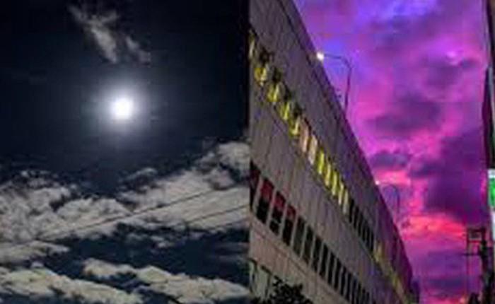 Trái ngược với bầu trời tím dự báo điềm dữ trước khi Hagibis đổ bộ, dân Nhật hứng khởi với cảnh quang đãng, trăng sáng rực khi siêu bão đi qua