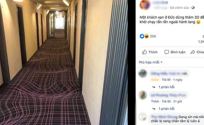 """Bức ảnh gây ảo giác đầu năm: Khách sạn Đức dùng thảm 3D ngăn khách chạy nhảy ở hành lang, dân tình nhìn vào """"không uống cũng say"""""""