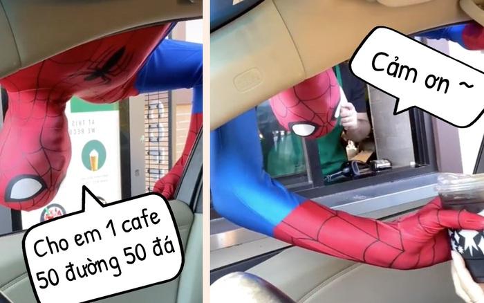 Internet thích thú với TikToker cải trang thành Spider-Man để mua cafe ở Starbucks, lộn cả đầu trên nóc ô tô cho ra dáng Người Nhện