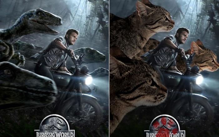 Chết cười với chùm ảnh Công viên kỷ Jura nhưng khủng long được thay thế bằng mèo và chồn