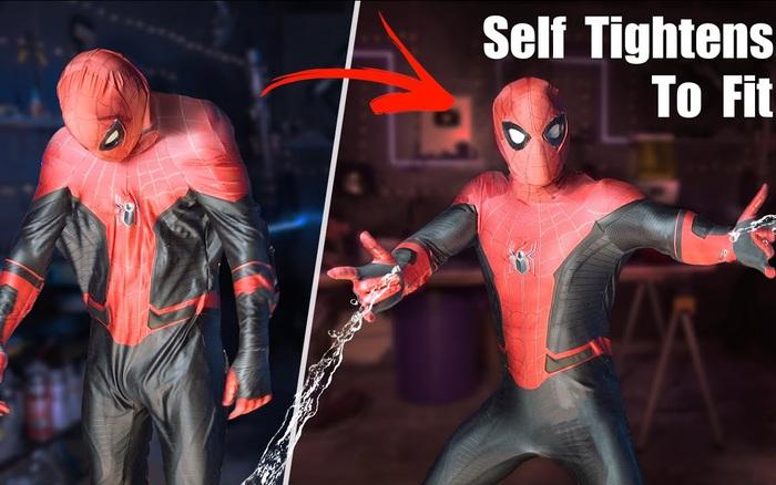 Đây là bộ trang phục Spider-Man với khả năng tự bó sát cơ thể chỉ với 1 nút bấm, hệt như trong phim Marvel